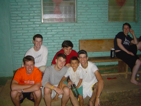 Kevin Woods and friends during their trip to Waslala with Villanova University