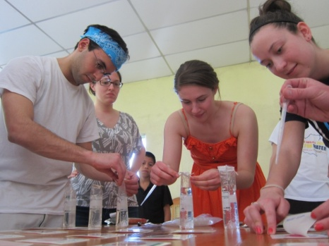 Villanova students collecting lab samples